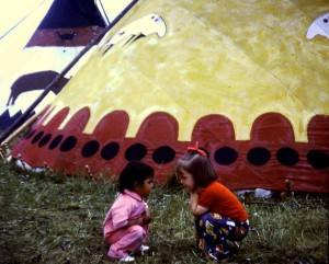 Julie makes a new friend, North American Indian Days, 1972