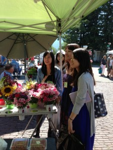 Amy, Susan, Rainbow and Tiffany at Farmer's Market