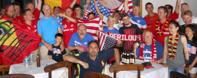 US and Belgium fans share pre-game fun.