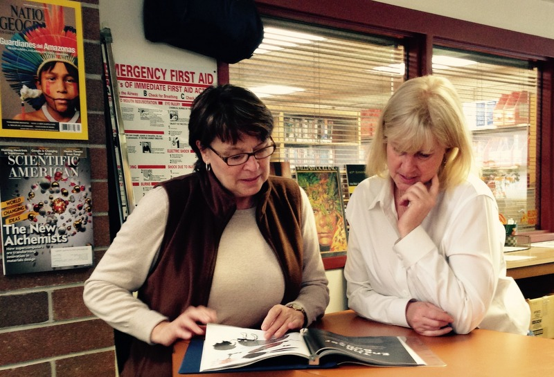 English teacher Jean Croxton collaborates with teacher-librarian Shaun Gant.