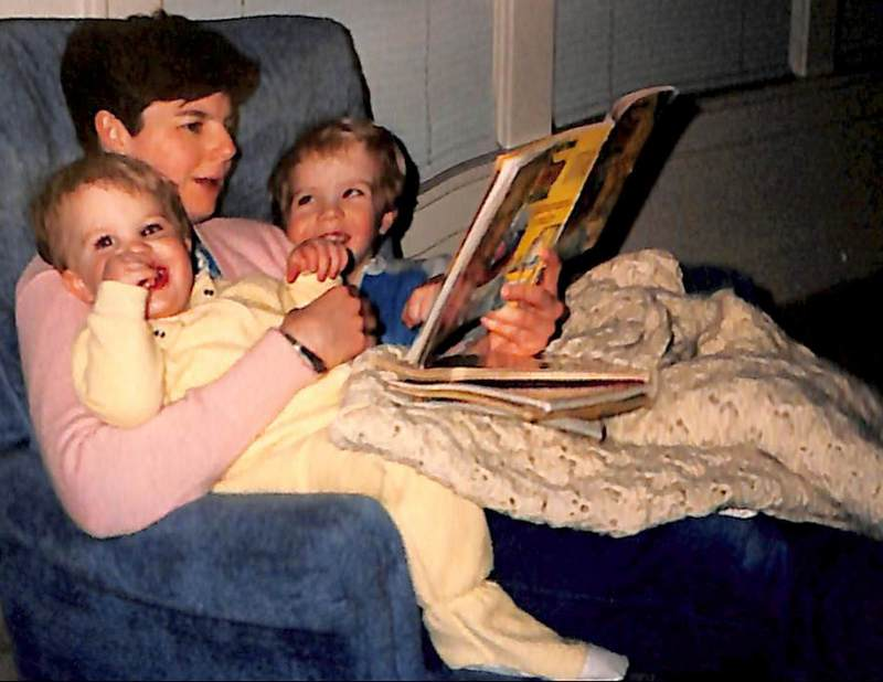 Bedtime reading with Colin and Eric. 1992.