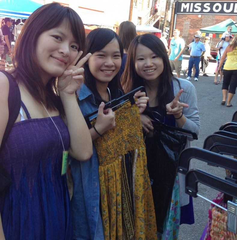 Taiwanese singers Rainbow, Amy, & Tiffany at Missoula People's Market 2013.