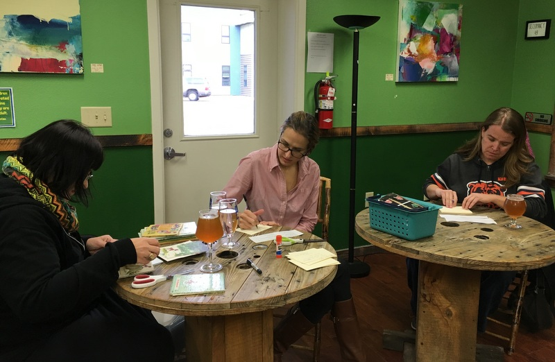 Book art and postcards and beer at Imagine Nation Brewing.